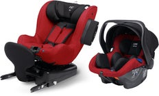 Axkid Modukid Seat Kindersitz, Red + Infant Babyschale Inkl. Basisstation