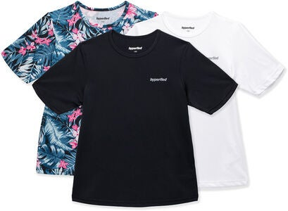 Hyperfied Wave T-Shirt 3er Pack, Black/White/Tropical Flower
