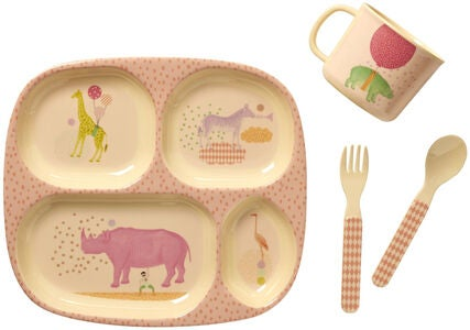 Rice Kinderservice Bambus Tiere, Rosa