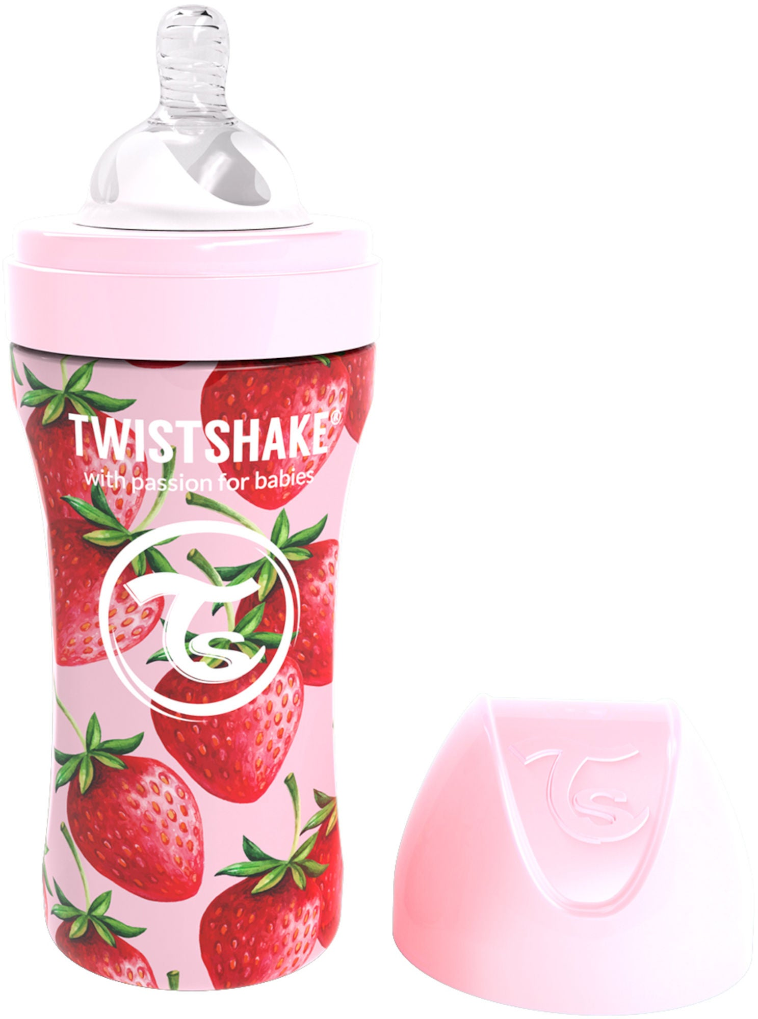 Twistshake Anti-Colic Stainless Steel Babyflasche 330 ml, Strawberry