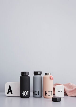 Design Letters Thermosflasche, Grau