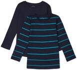 Luca & Lola Nario Langärmliges T-Shirt 2er-Pack, Green/Navy Stripes