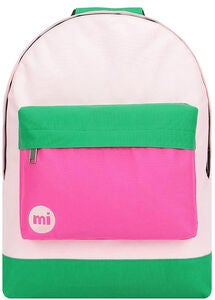 Mi-Pac Classic Colour Block Rucksack, Blush/Leaf Green