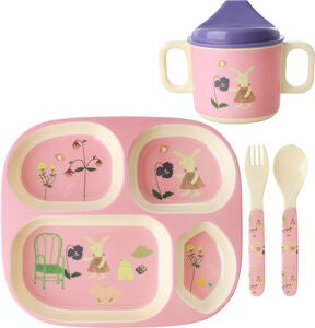 Rice Melaminset Bunny 4 Teile, Pink