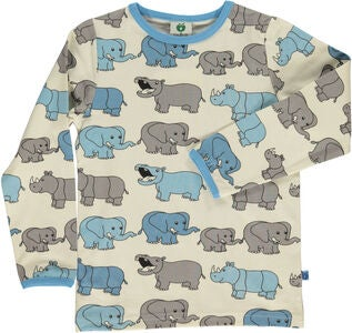 Småfolk Nashorn & Elefant T-Shirt, Air Blue